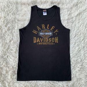 HARLEY DAVIDSON MOTORCYCLES BLACK RIBBED TANK TOP